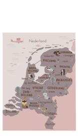 Poster Kinderkamer Nederland Bosdieren Dubbelzijdig Little & Pure