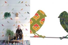 Inke XL Muurprints Behang Kinderkamer Vogeltjes Bont