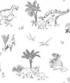 Behang Kinderkamer Monochrome Dinosaurs Seamless Pattern