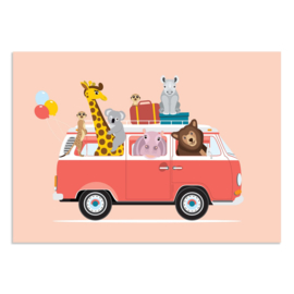 Poster Kinderkamer Volkswagen met Dieren Roze