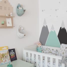Muurstickers Kinderkamer Mountains Pastel Behind The Bed