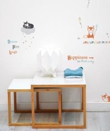 Muurstickers Kinderkamer Lilipinso: Vos & Wasbeer
