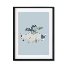Poster Kinderkamer Krokodil in Vliegtuig