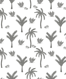 Wallpaper - Seamless Pattern With Monochrome Palmtrees Lilipinso