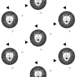 Behang Kinderkamer Leeuw Zwart - Wit