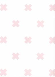 Behang Kinderkamer Crosses Wit / Roze Fabs World