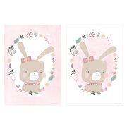 Poster Kinderkamer Dubbelzijdig Rabbit Pink