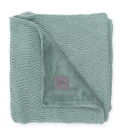 Deken River knit ash green/coral fleece 100 x 150cm Jollein