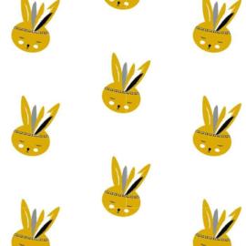 Behang Kinderkamer Bunny Okergeel