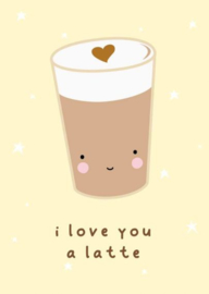 "Kaart ""I Love you a Latte"" van A Little Lovely Company"