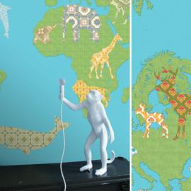 XL Muurprint World Map Inke