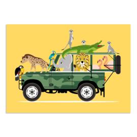 Poster Kinderkamer Dieren op Jeepsafari Geel