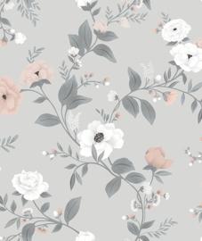 Behang Kinderkamer Symphony of Roses Grey