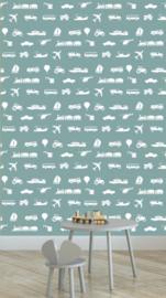 Behang Kinderkamer Voertuigen Blauw Designed4kids