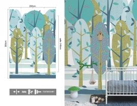 Inke XL Muurprints Behang Kinderkamer Leidse Hout Groen-Blauw