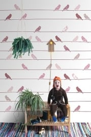 Inke XL Muurprints Behang Kinderkamer Vogeltjes Roze