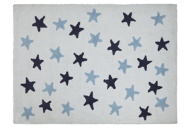 Vloerkleed Kinderkamer Messy Stars Navy Blue