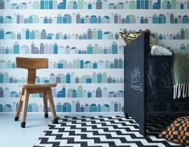 Inke XL Muurprints Behang Kinderkamer Huisjes Blauw