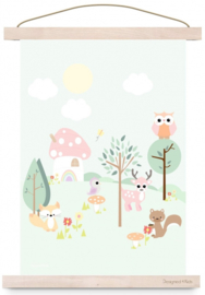 Poster Kinderkamer Forest Friends Pastel