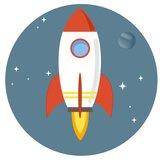 Muurcirkel Kinderkamer Space Rocket