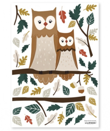 Muurstickers Kinderkamer Owl Family