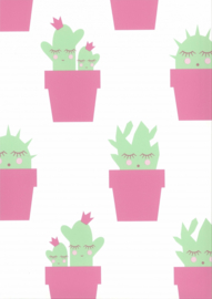 Behang Kinderkamer Cactus Roze Fabs World