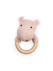 Rammelaar / Bijtring Ø 7cm Soft Knit Hippo Creamy Peach