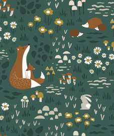 Wallpaper Forest Animals Green van Lilipinso