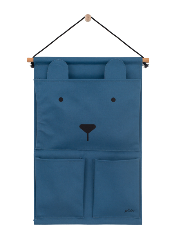 Wandorganizer Canvas Animal Club Steel Blue Jollein