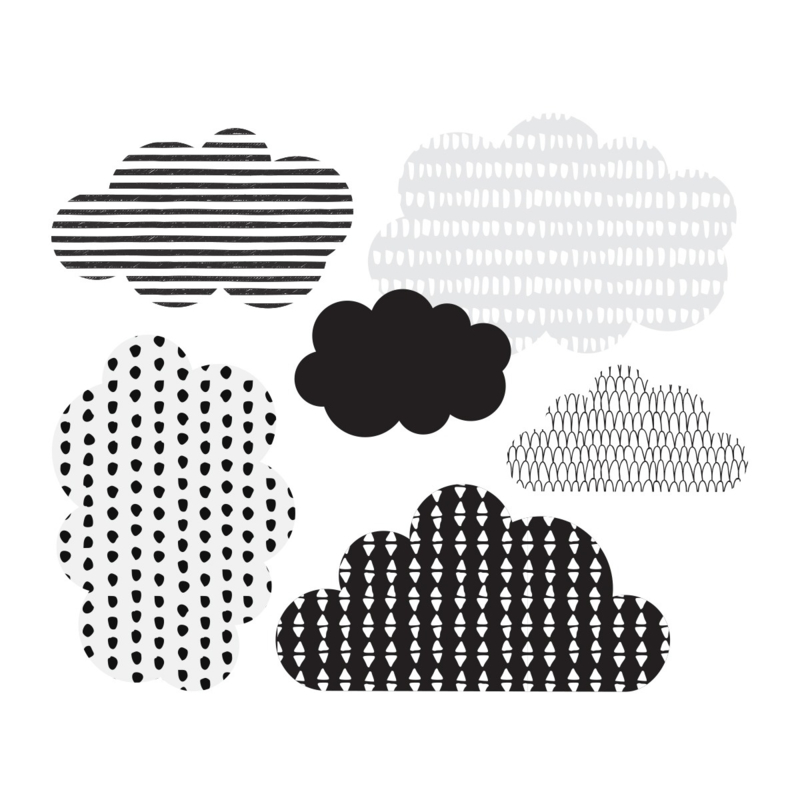 Muurstickers Kinderkamer Scandi Clouds Black - White