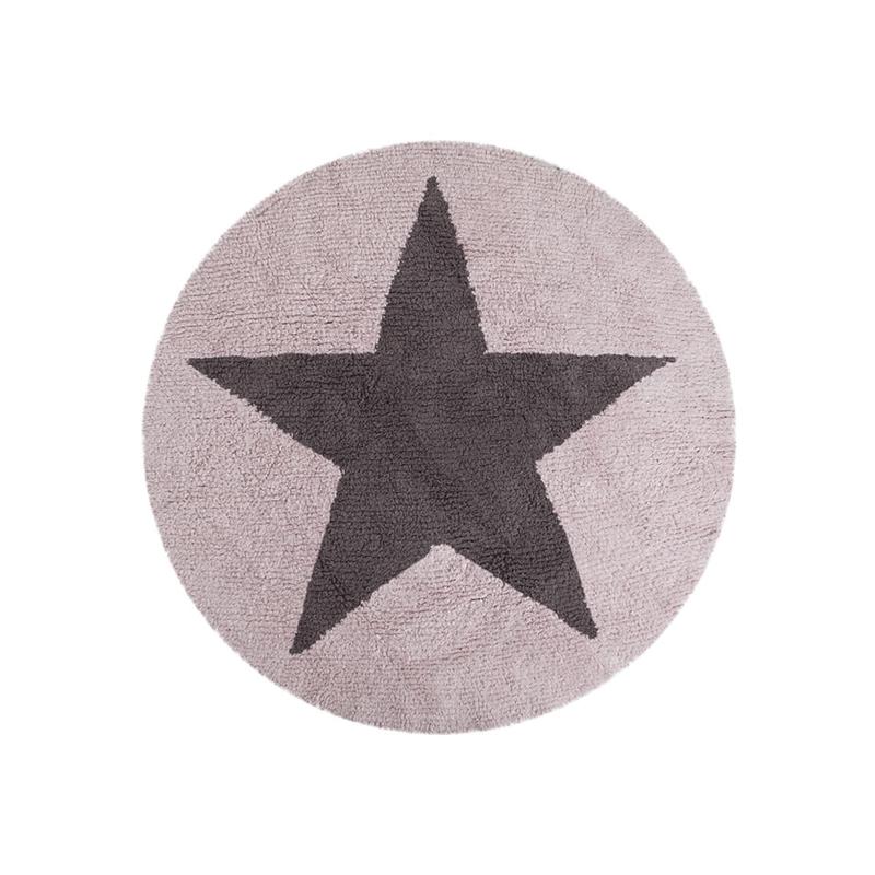 Vloerkleed Kinderkamer Reversible Round Star Grey-Pink
