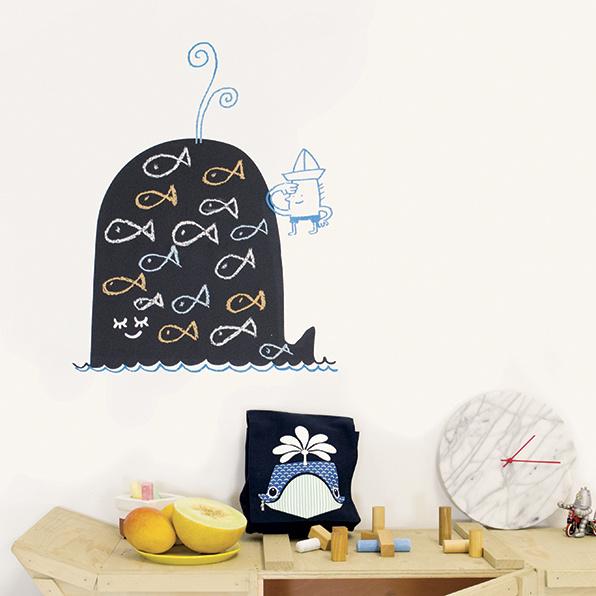 Muursticker Kinderkamer Chispum: Whale blackboard