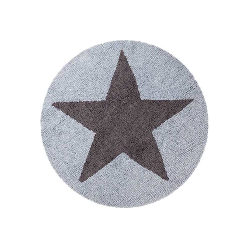 Vloerkleed Kinderkamer Reversible Round Star Grey-Blue