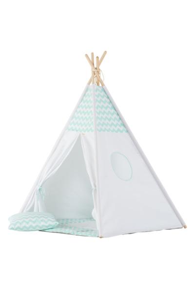 Tipi Tent / Speeltent Kinderkamer Chevron Mintgroen - Wit