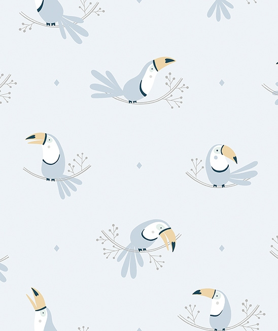 Wallpaper Seamless Pattern with Pastel Blue Toecans Lilipinso
