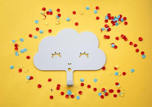 Wandhaakje Happy Cloud White