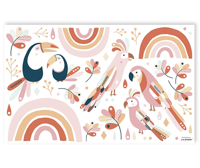 Muurstickers Kinderkamer Tropical Birds Pink & Orange