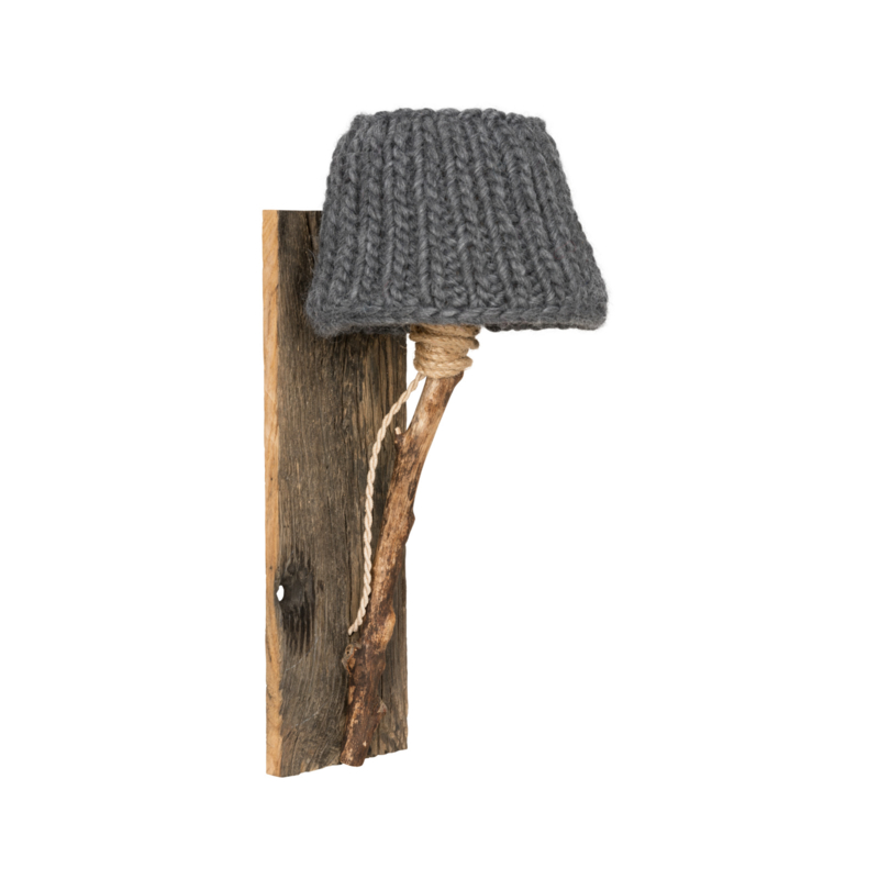"""Kinderkamer Wandlamp hout """"Grijs"""""""