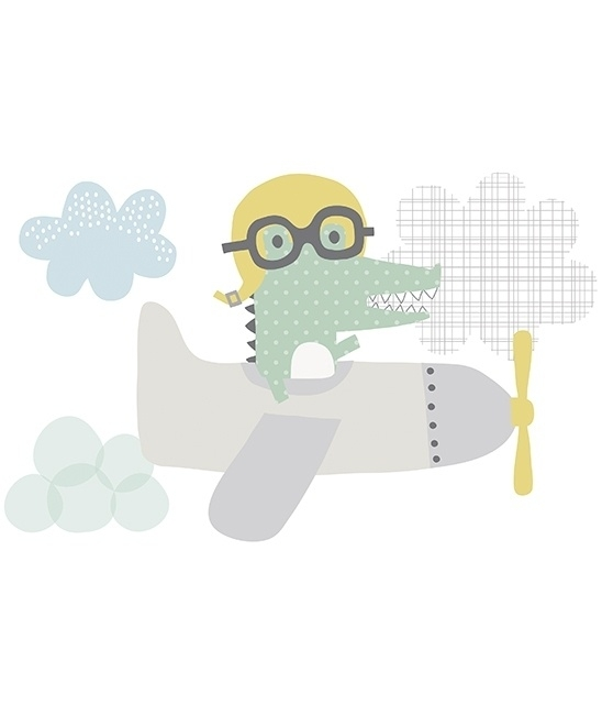 Muursticker XL Kinderkamer Lilipinso: Krokodil in Vliegtuig