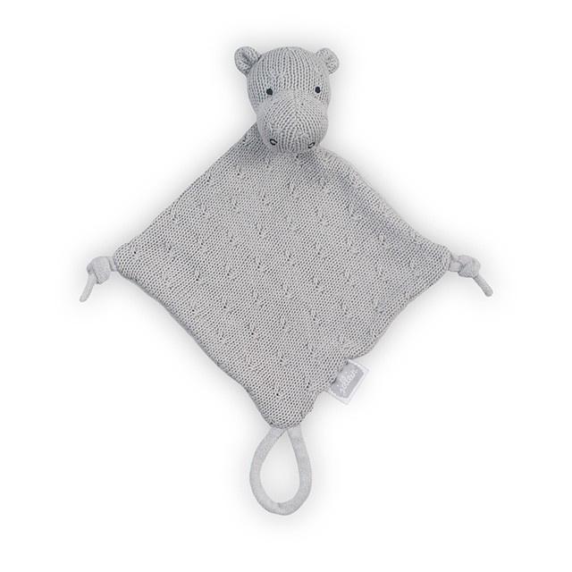 Knuffeldoekje Soft Knit Hippo Light Grey Jollein