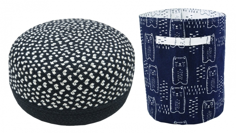 "Kinderkamer poef ""Roundy Black & White"" en 1 opbergmand ""Charlie"" black"
