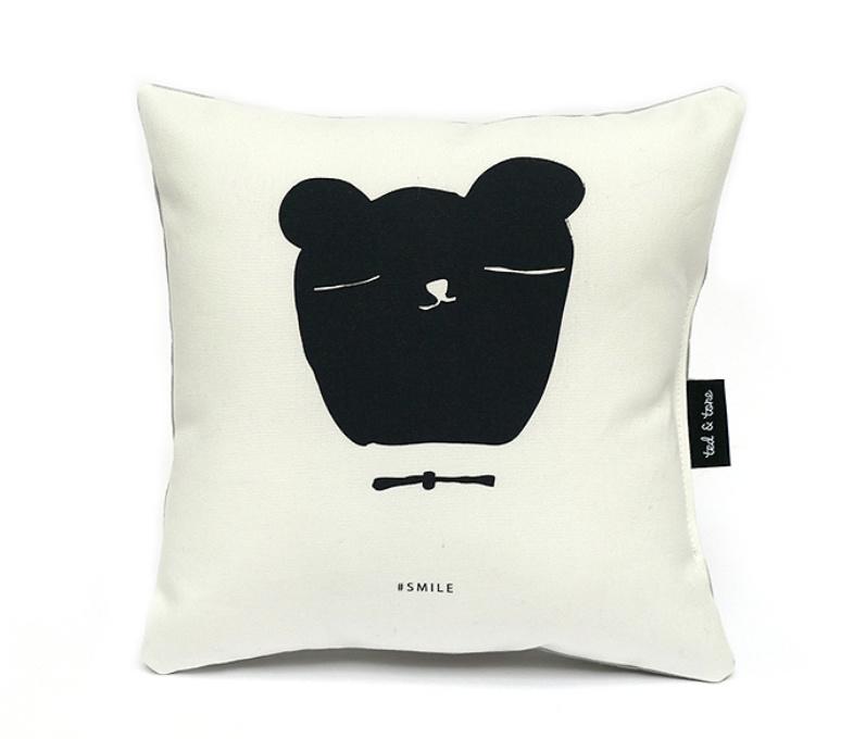 Kussen Kinderkamer Bear Smile Black/White Ted & Tone