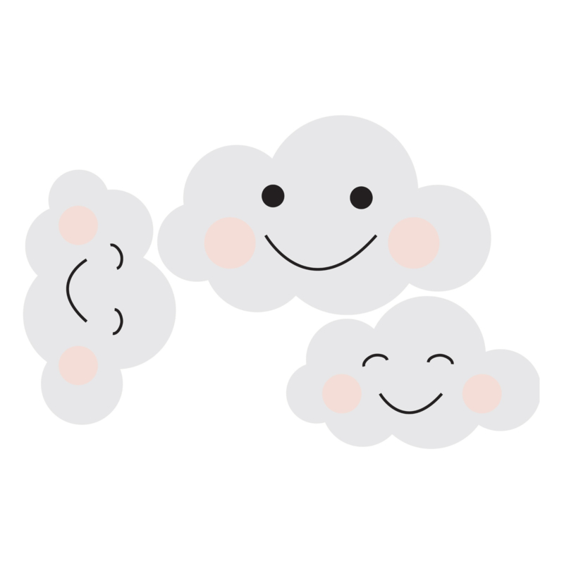 Muurstickers Kinderkamer Happy Clouds Grey