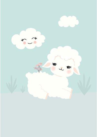 Poster Kinderkamer Wooly Lamb