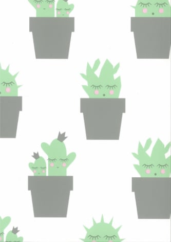 Behang Kinderkamer Cactus Groen Fabs World
