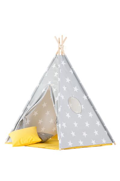 Tipi Tent / Speeltent Kinderkamer Stars Grey met Gele speelmat