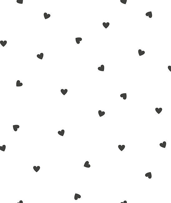 Behang Kinderkamer Black Hearts White Lilipinso