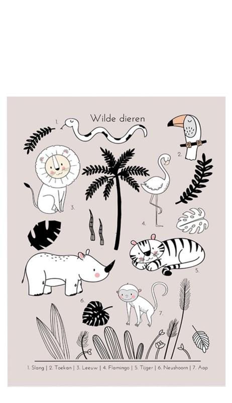Poster Kinderkamer Tropics Roze Dubbelzijdig Little & Pure