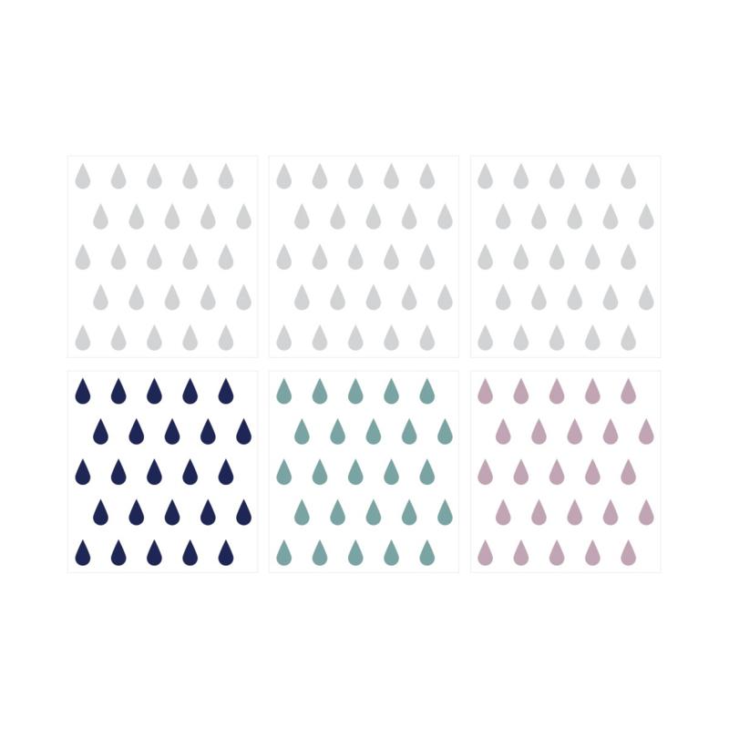 Set Muurstickers Kinderkamer Drops Navy / Lila / Turquoise / Grey