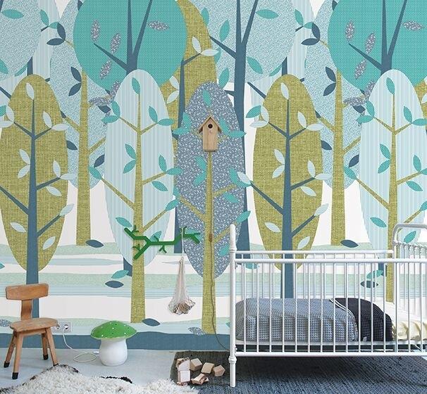 Babykamer Groen Blauw.Inke Xl Muurprints Behang Kinderkamer Leidse Hout Groen